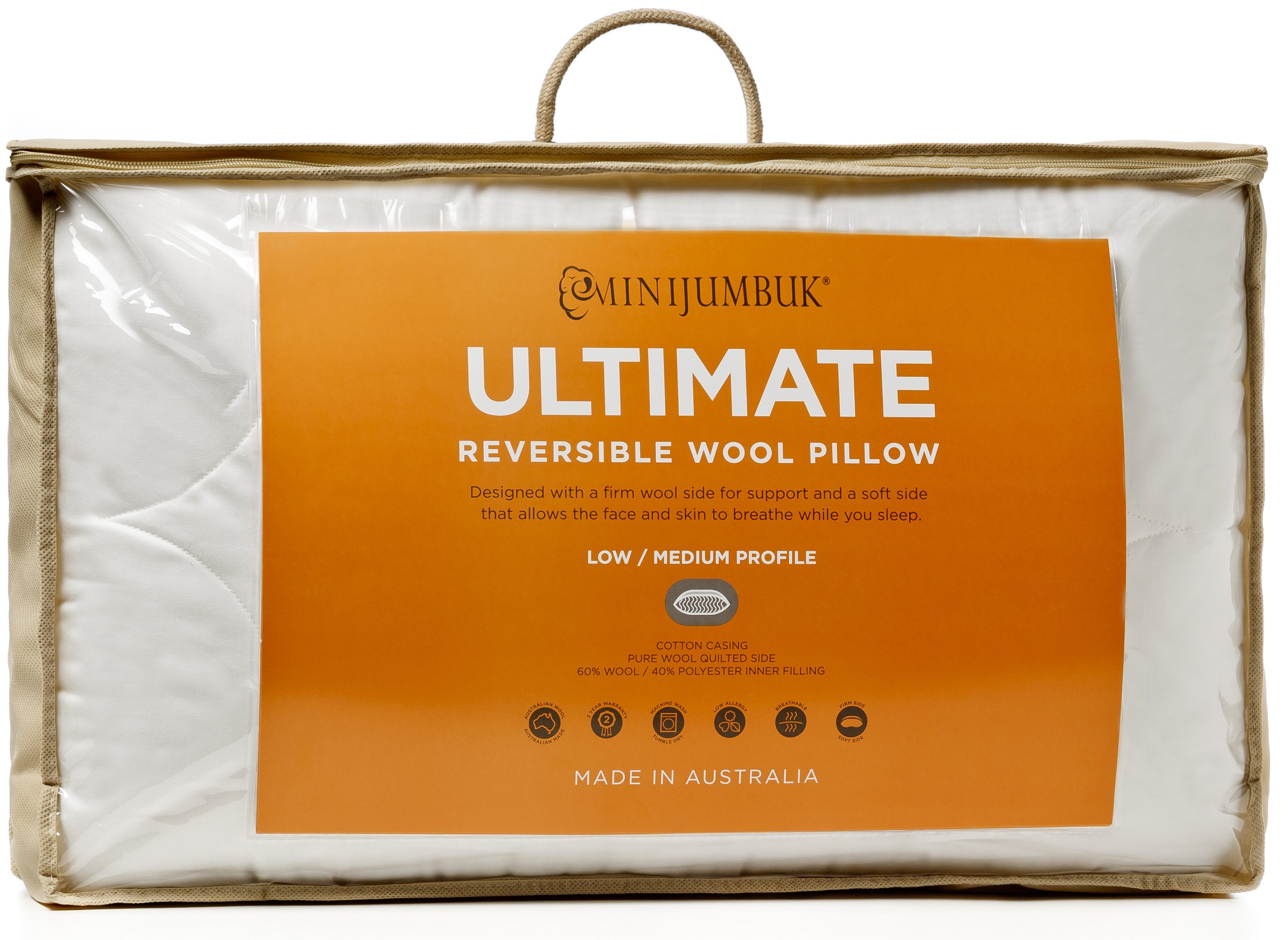 MiniJumbuk – Ultimate Reversible Wool Rich Medium High Pillow