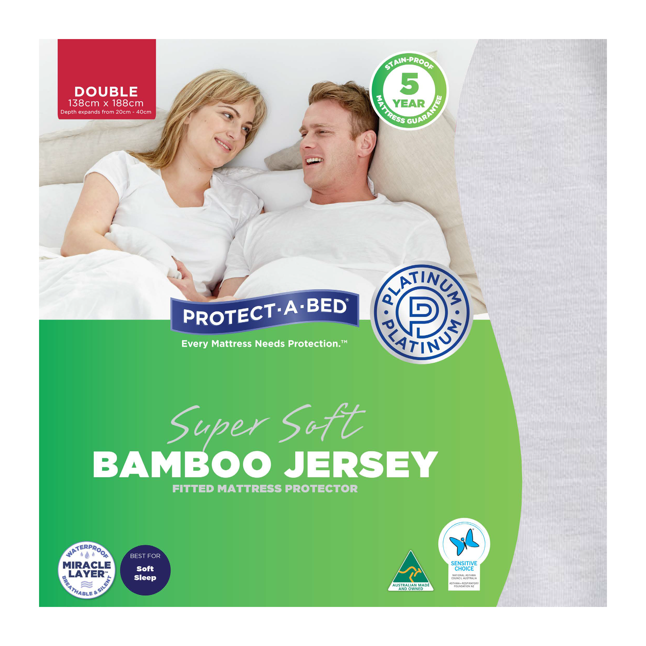 Protect-A-Bed Bamboo Jersey – Double Mattress Protector