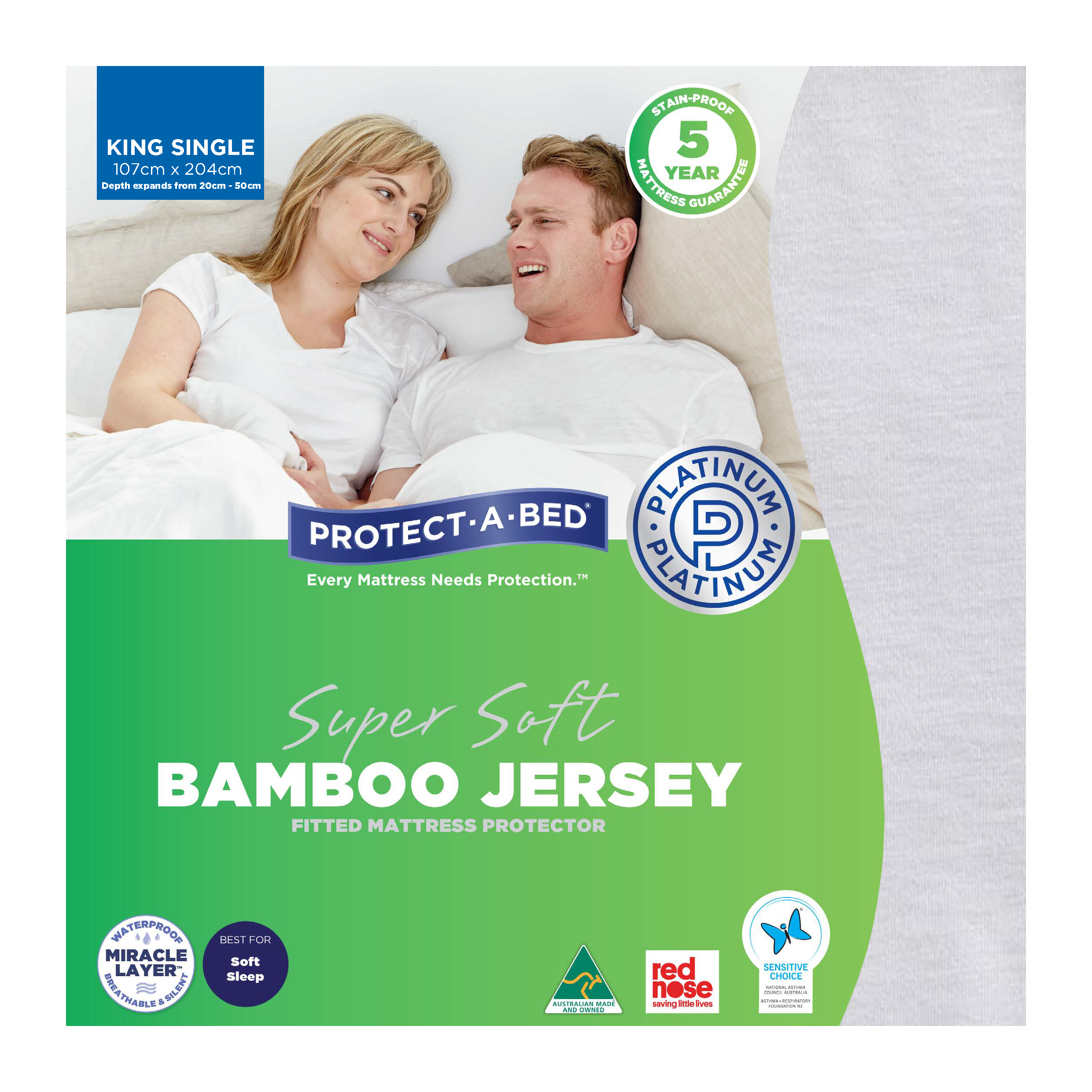 Protect-A-Bed Bamboo Jersey – King Single Mattress Protector