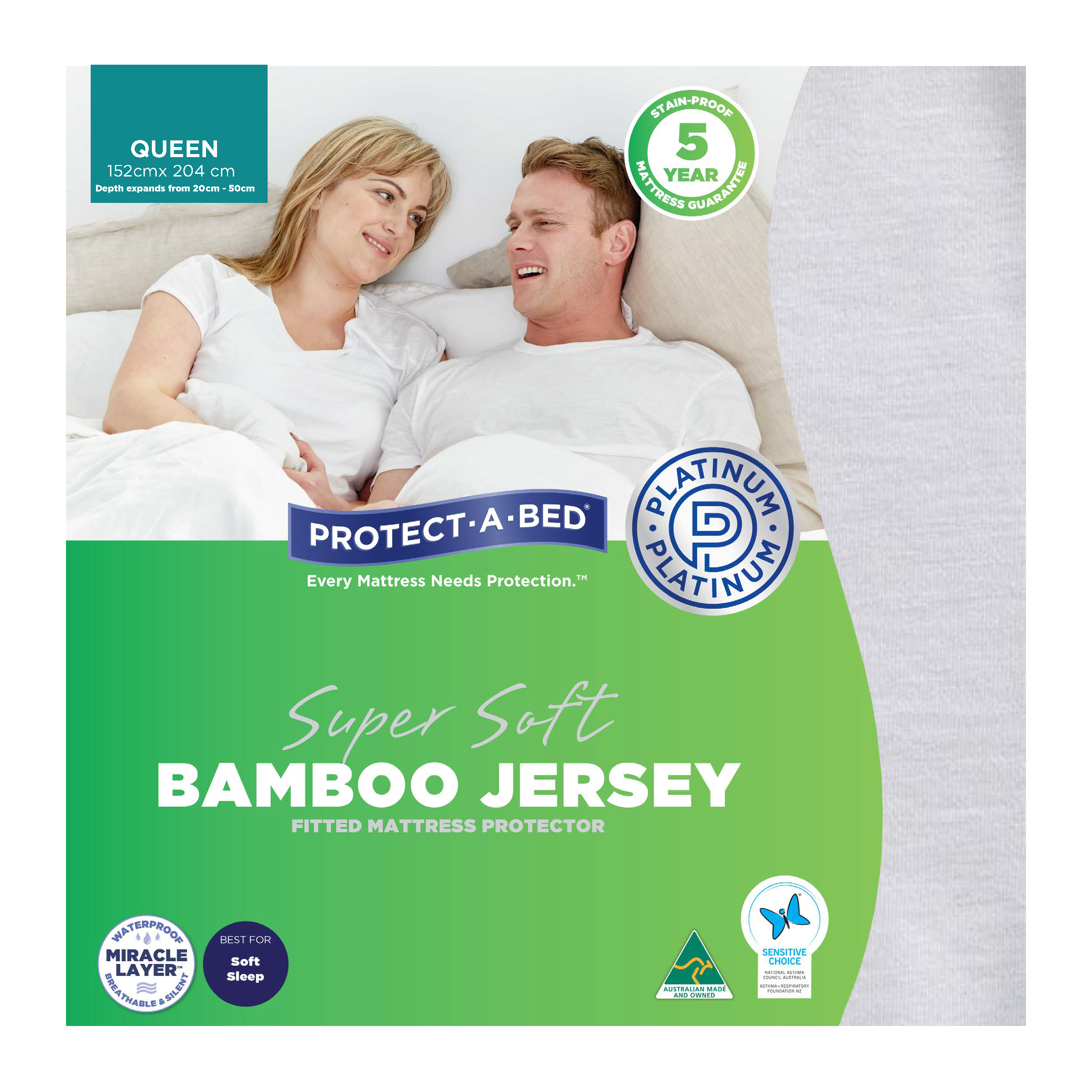 Protect-A-Bed Bamboo Jersey – Queen Mattress Protector