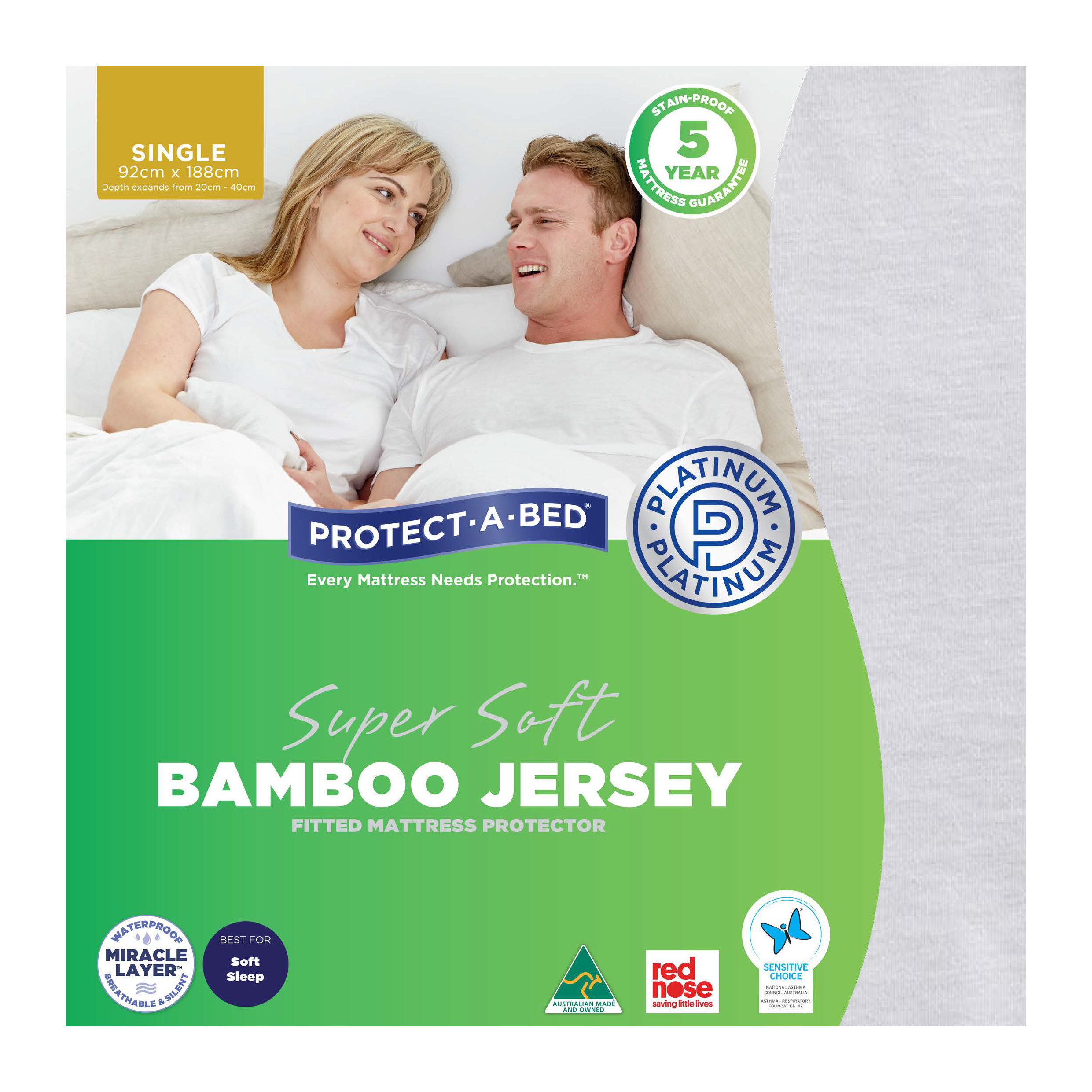 Protect-A-Bed Bamboo Jersey – Single Mattress Protector