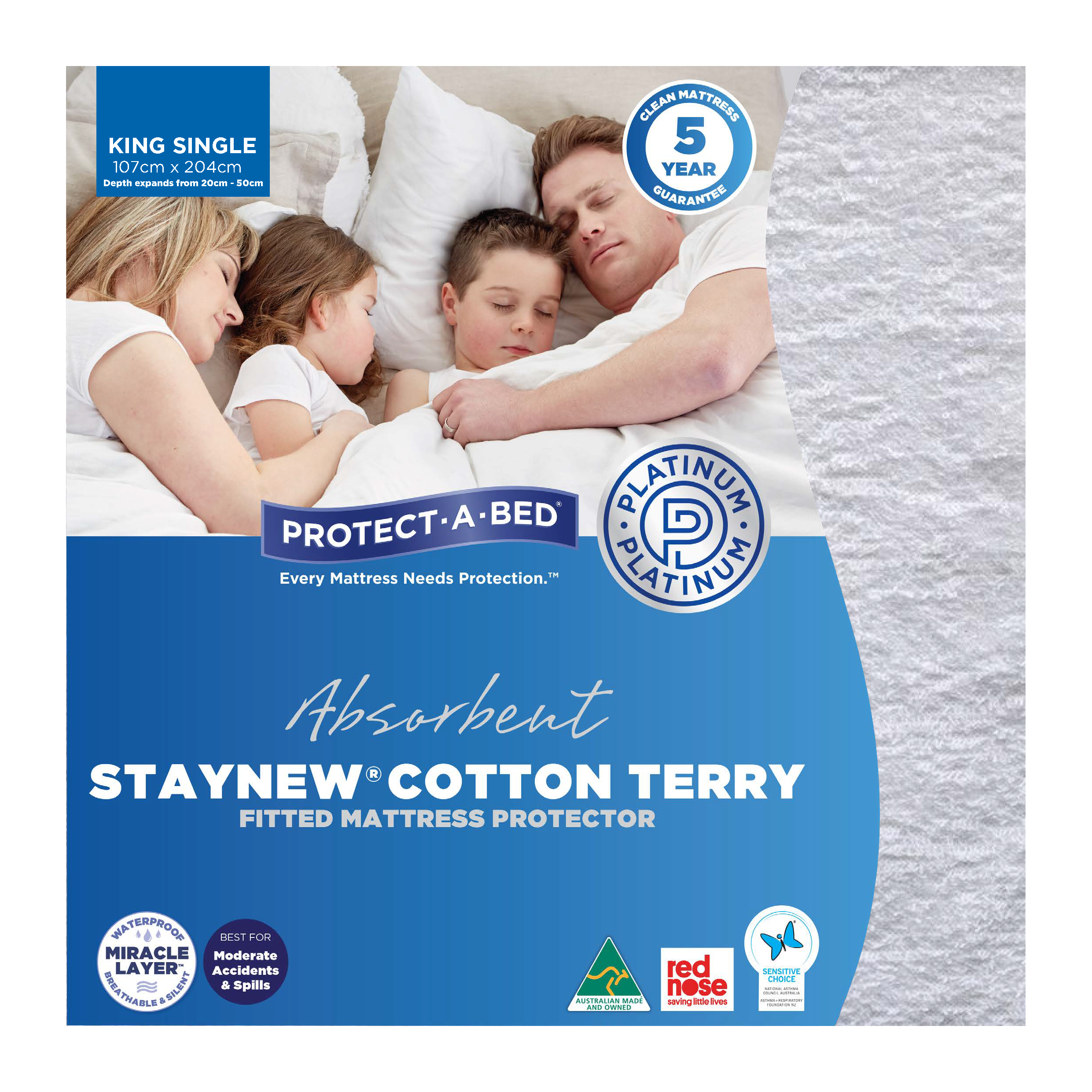 Protect-A-Bed Cotton Terry – King Single Mattress Protector