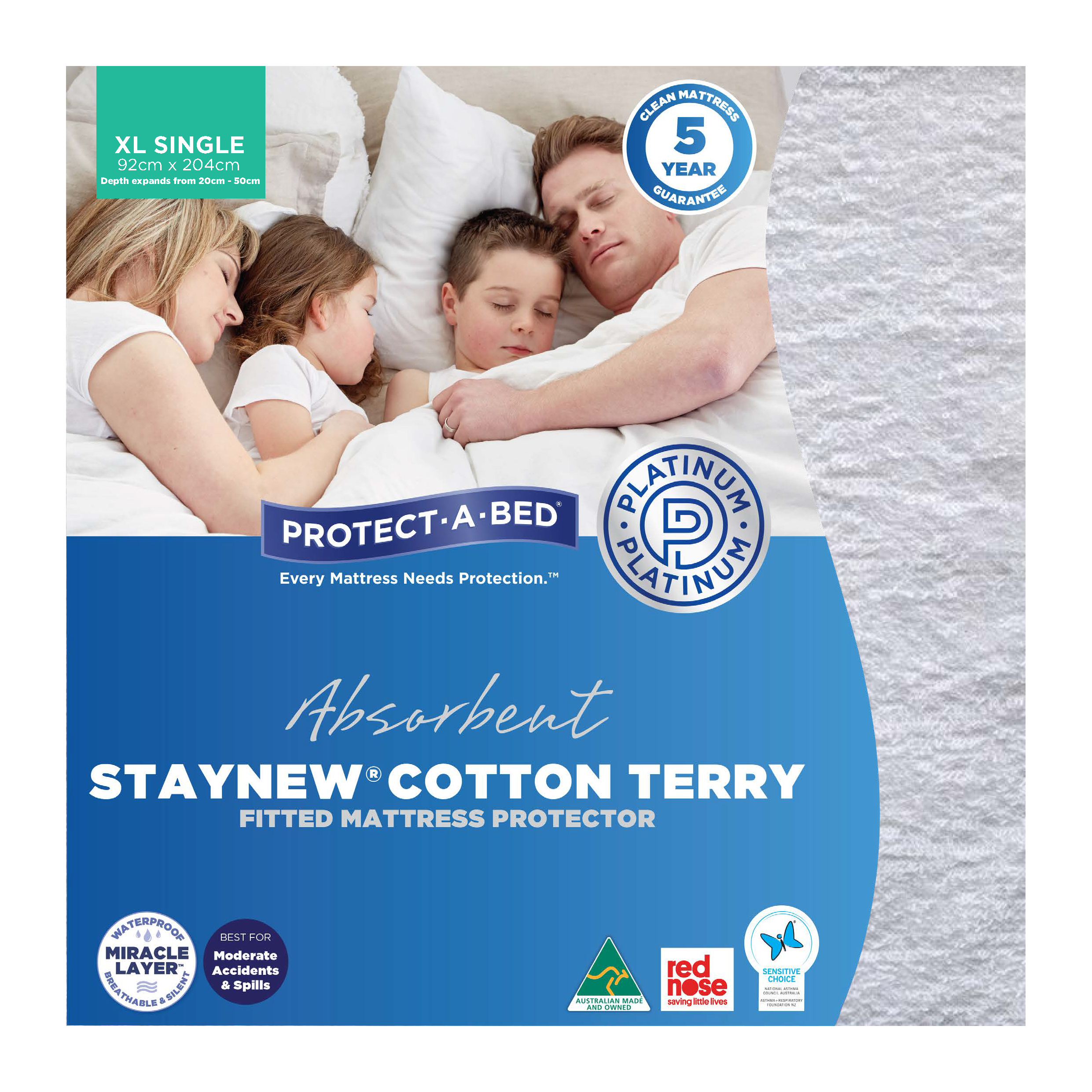Protect-A-Bed Cotton Terry – Long Single Mattress Protector