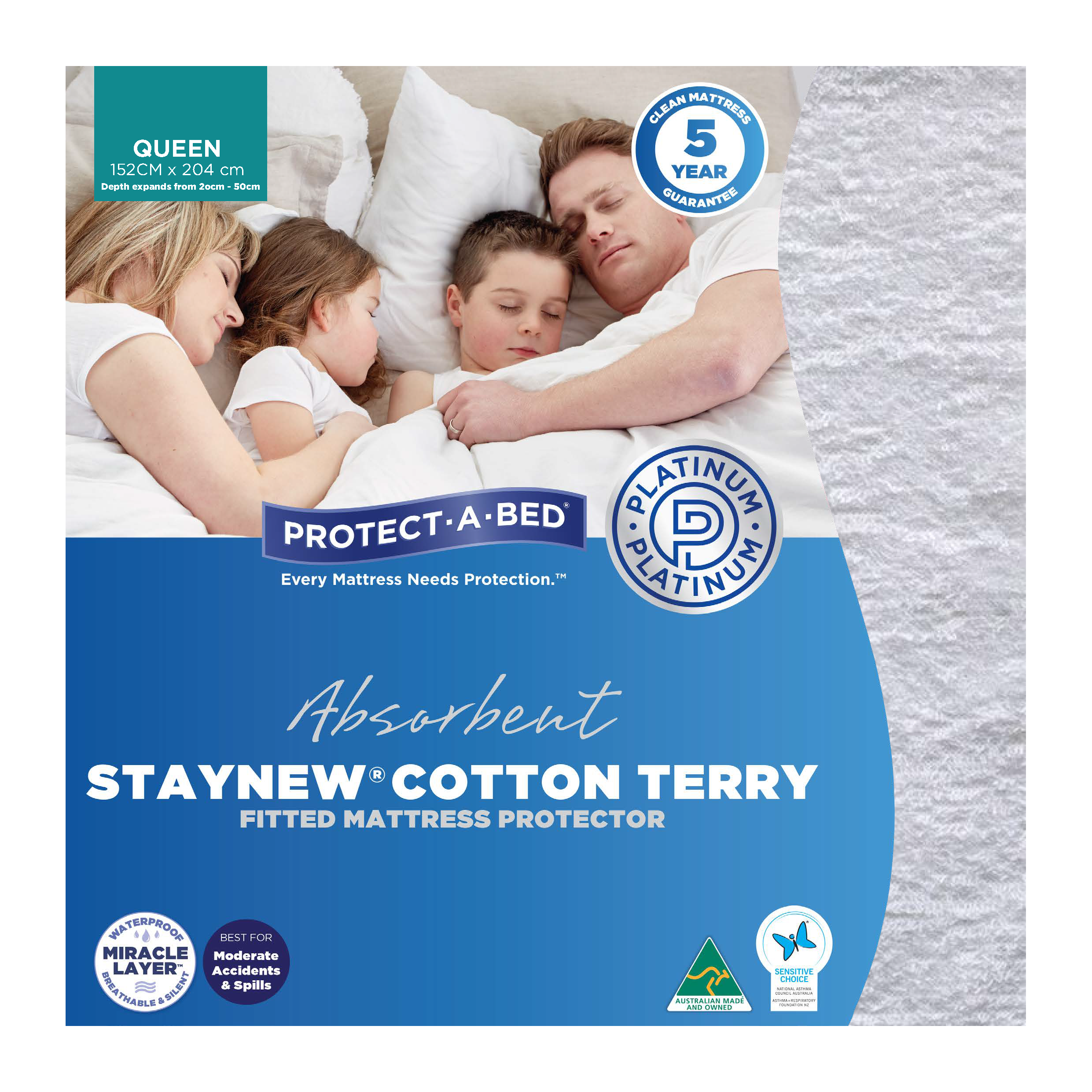 Protect-A-Bed Cotton Terry – Queen Mattress Protector