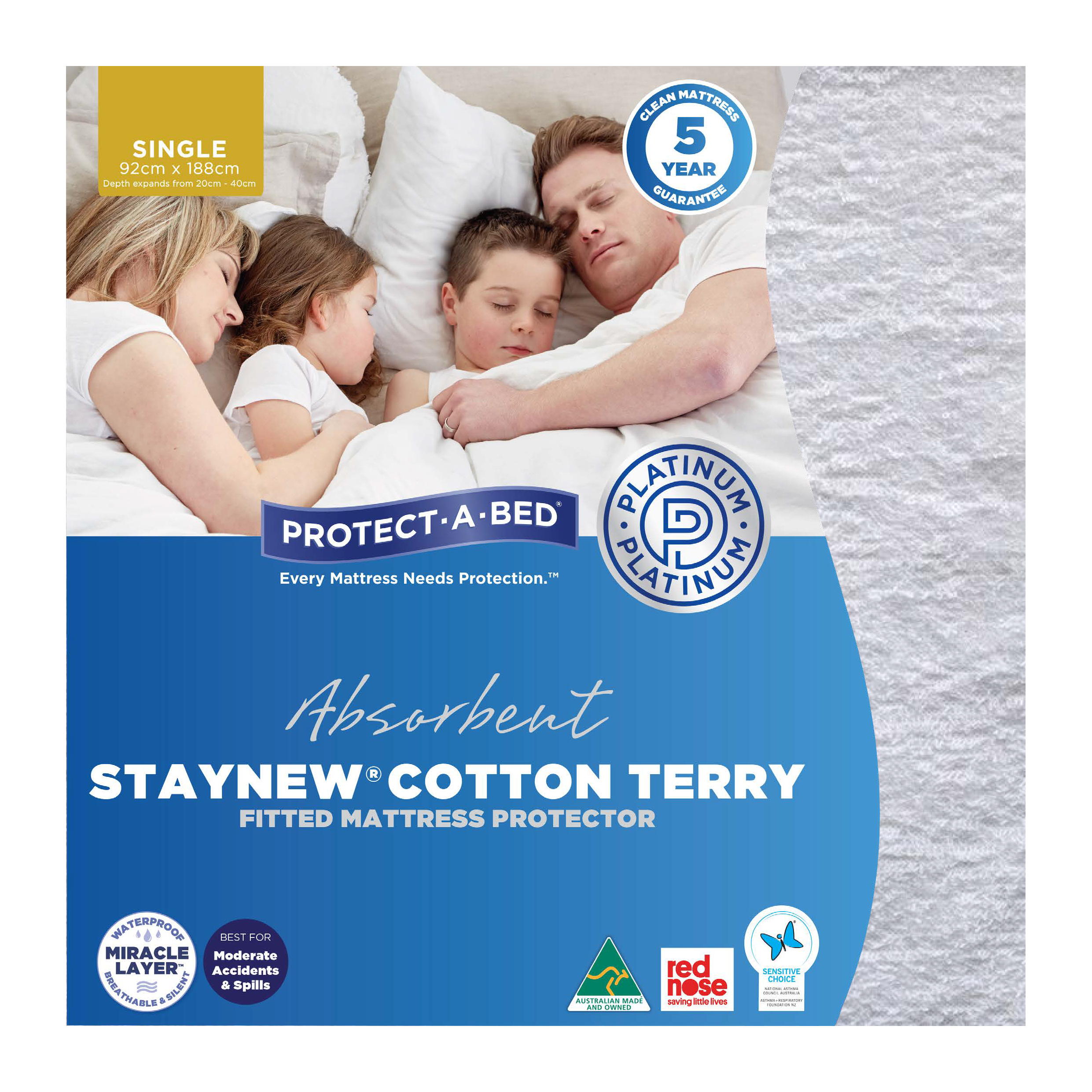 Protect-A-Bed Cotton Terry – Single Mattress Protector
